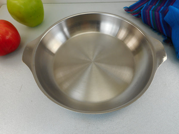 "Letang & Remy ""Triplinox"" France 9"" Fry Pan Skillet - No Handle - 1980s Stainless Cookware"