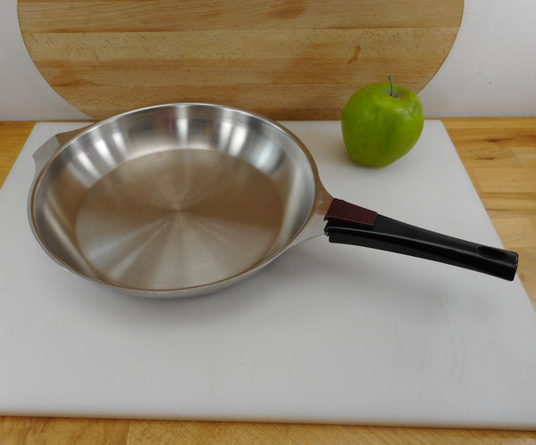 "SOLD...  Letang & Remy ""Triplinox"" France 10.5"" Fry Pan Skillet With Handle - 1980s Stainless Cookware"