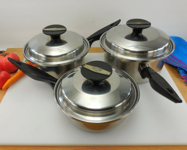 """Aladdin Lamp"" Vintage 18-8 Tri-Ply USA 3 Stainless Saucepans with Lids"
