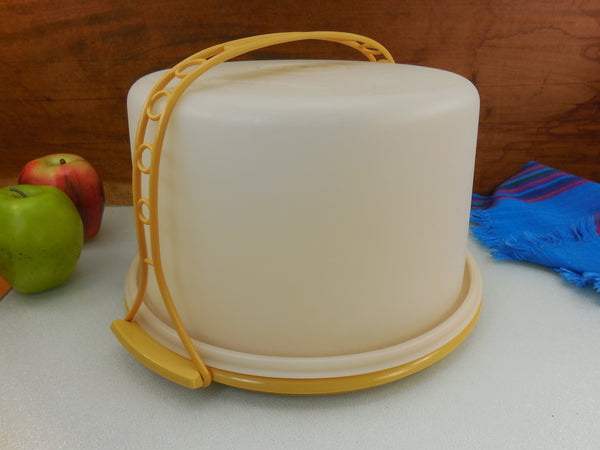 Tupperware Vintage Pie/cake Keeper Tote Taker Carrier - Harvest Gold 684-7
