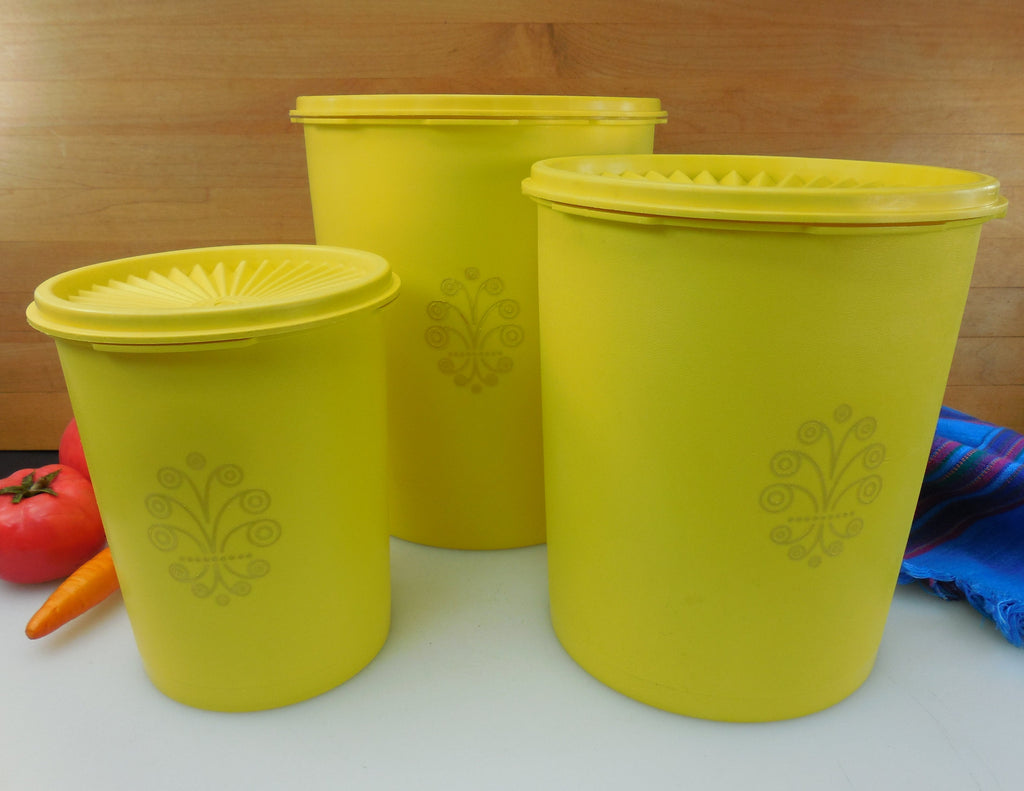 Tupperware Yellow Servalier 3 Set - Vintage Kitchen Canister Containers
