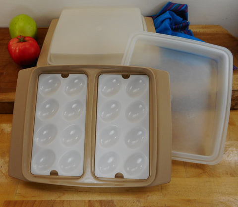 Tupperware Pair Vintage Deviled Egg Keepers Container 723-2 Tan - 32 Halves