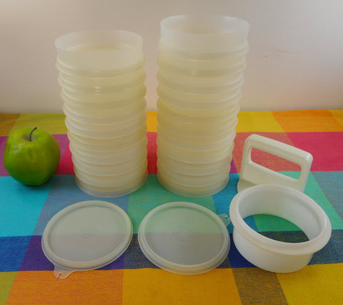 Tupperware Lot 21 Hamburger Patty Keeper Containers, Press, 2 Lids