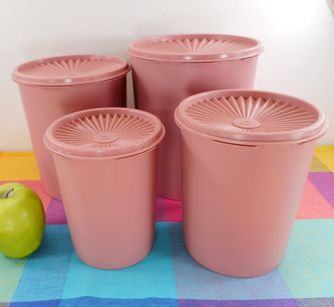 Tupperware Mauve Pink Servalier 4 Set - Vintage Kitchen Canister Containers