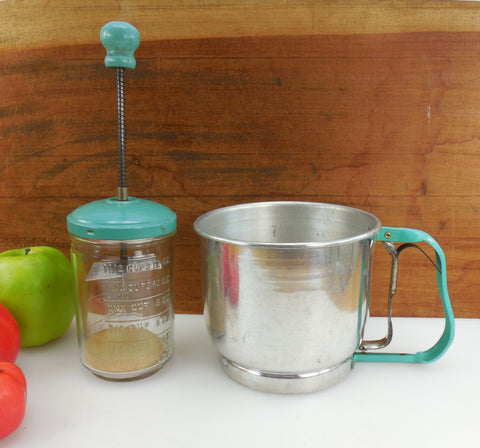 Turquoise Aqua 2 Kitchen Tools - Foley Flour Sifter and Hazel Atlas Chopper Measuring Glass Jar