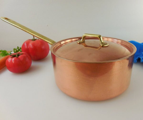 Vintage Copper Tin Brass Saucepan Pot & Lid - 1-1/2 Quart - Unbranded Maker