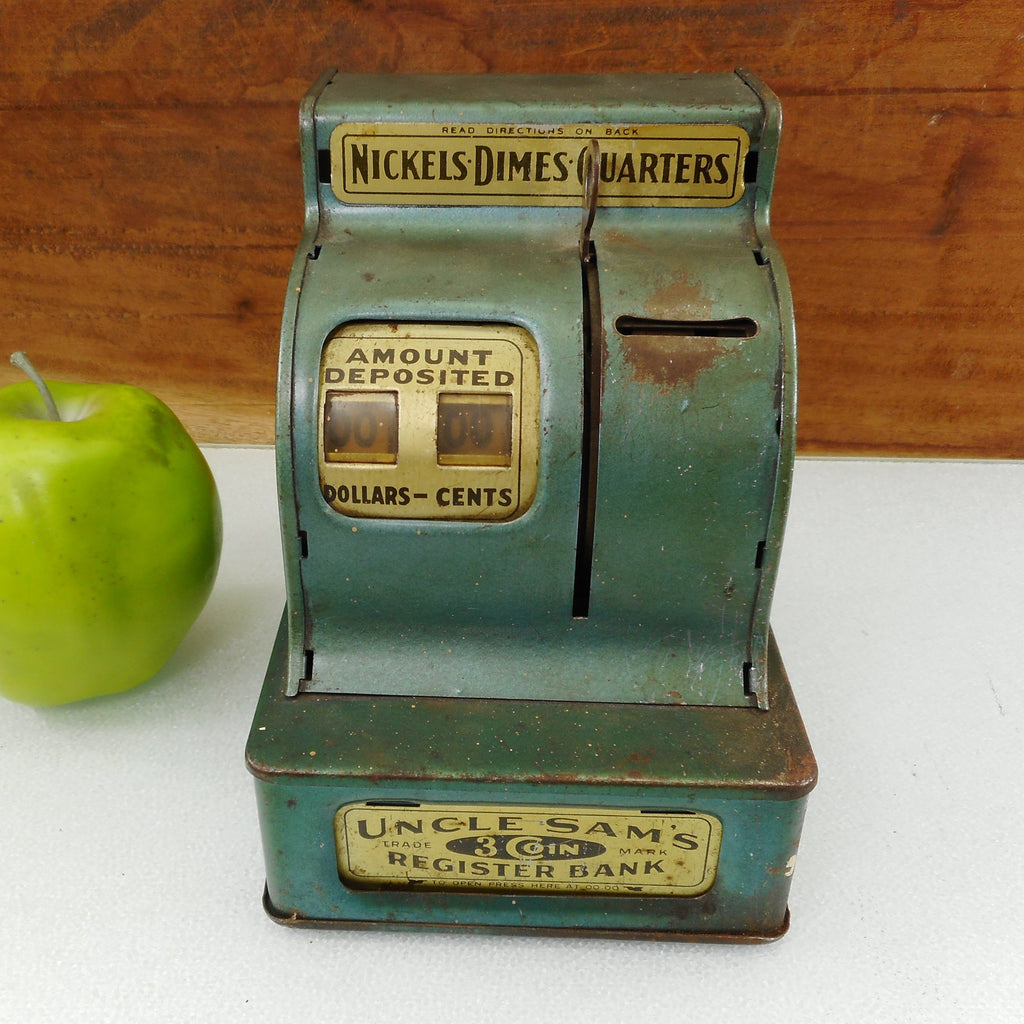 Uncle Sam's 3 Coin Register Bank Toy Cash Register Blue/Green