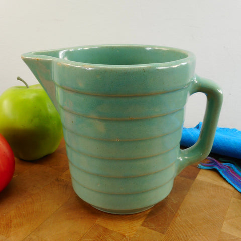 "USA Vintage Unbranded 5"" Turquoise Stoneware Pottery Pitcher - Bands Rings Ribs"
