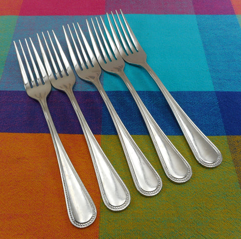 "Villeroy & Boch Set of 4 BORDEAUX 8-3/8"" Dinner Forks - Glossy Stainless Beaded"
