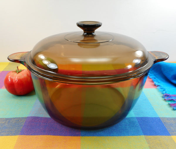 Corning Pyrex USA Vision Amber Glass 4.5 L Dutch Oven Stock Pot wt Lid