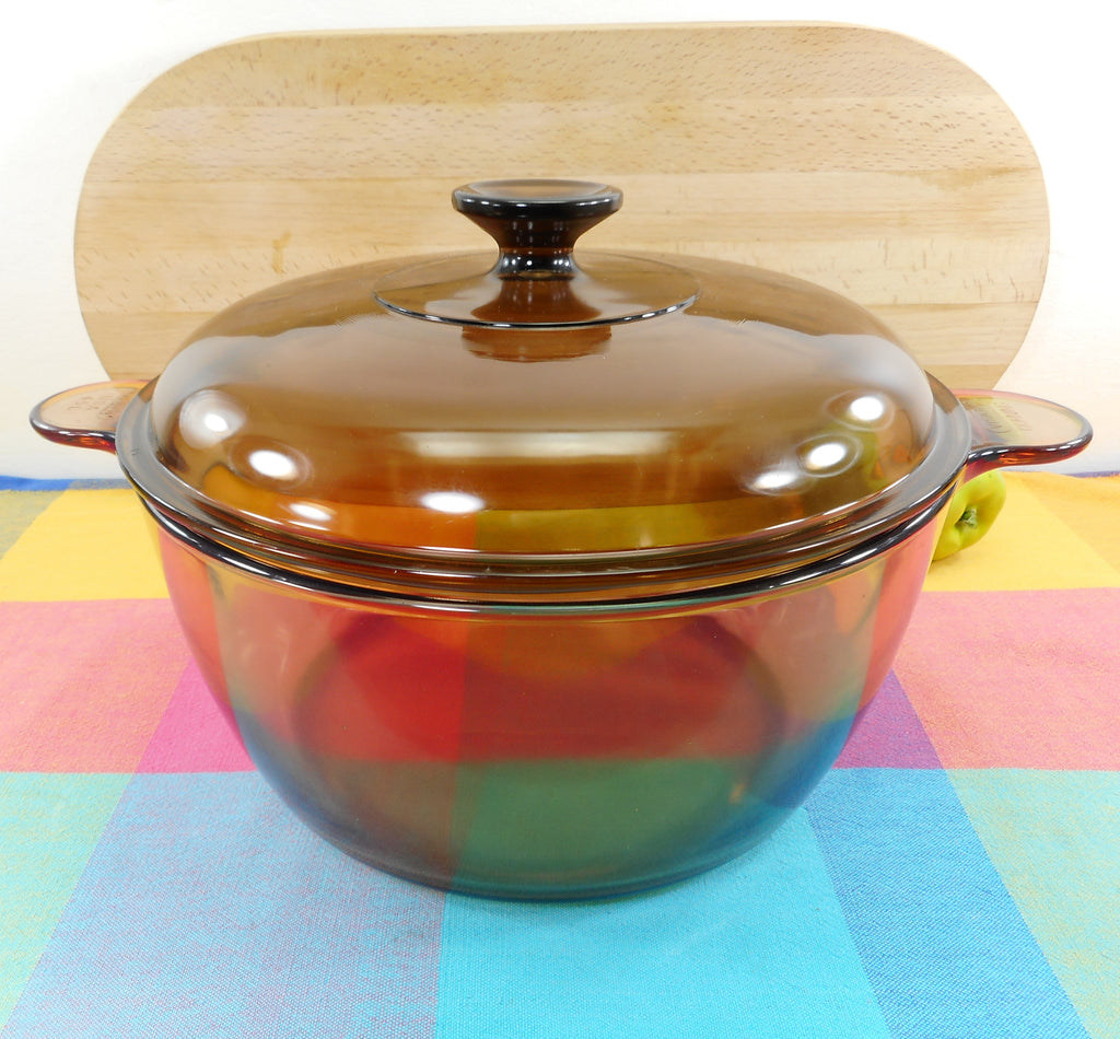 Corning Ware Pyrex USA Vision Amber Glass - 4.5 L Dutch Oven Stock Pot & Lid