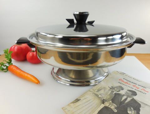 Vollrath #24 Electric Fry Pan Skillet with Booklet - Vintage 1970s Stainless Kitchen Appliance