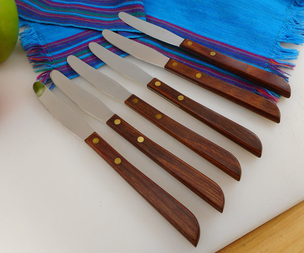 Washington Forge USA Steak Knives 6 Set - Stainless with Wood Handles - Blunt End Blade