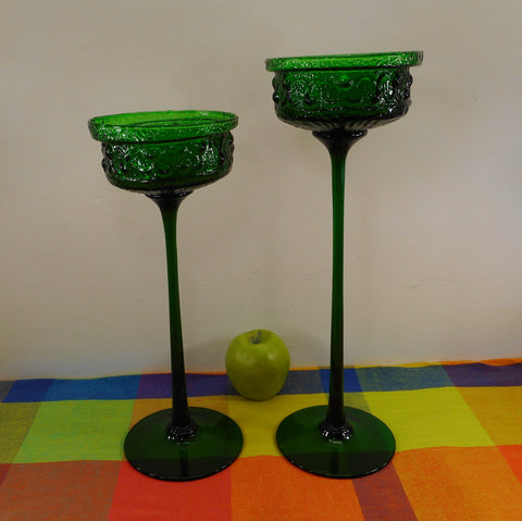 Wayne Husted Stelvia Italy Antigua Line - Pair Tall Candle Holders Emerald Green