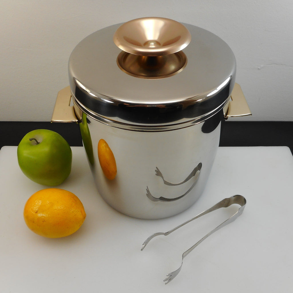 "West Bend USA Vintage ""Ice Butler"" 4 Quart Stainless Ice Bucket Gold Anodized Handles/Knob"