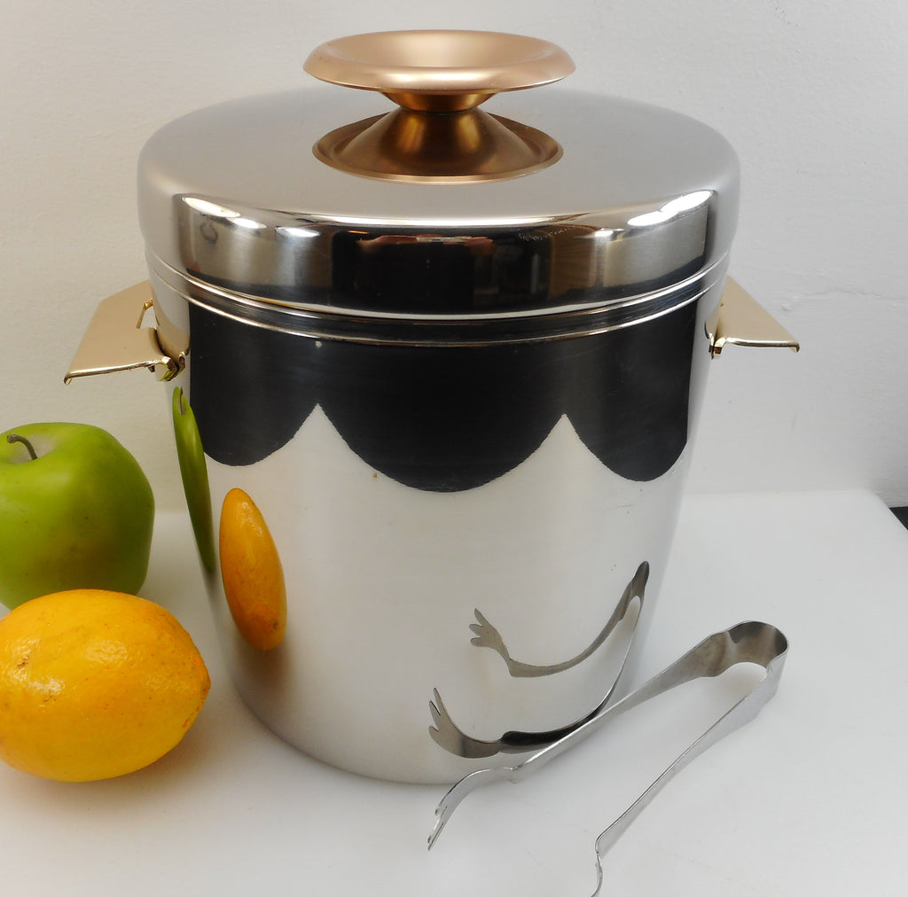 "West Bend USA Vintage ""Ice Butler"" 4 Quart Stainless Ice Bucket Gold Anodized Handles/Knob Used"