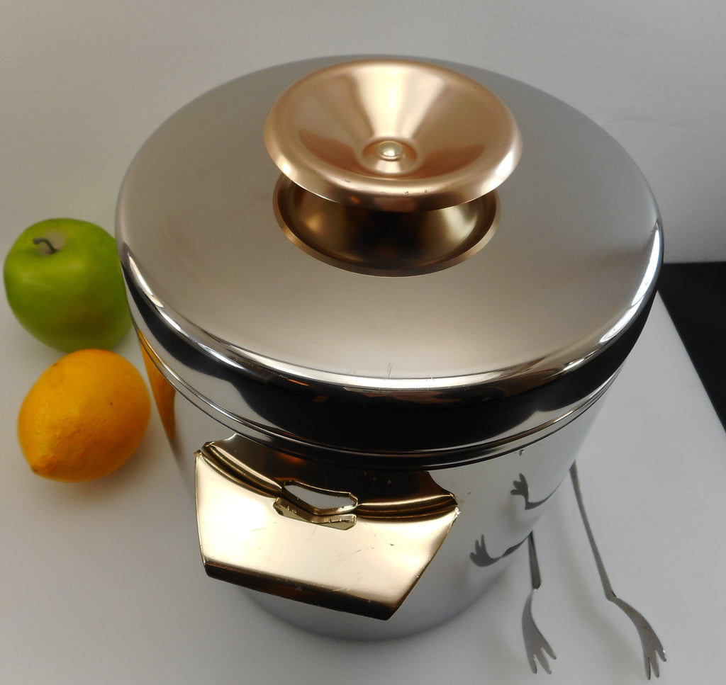 "West Bend USA Vintage ""Ice Butler"" 4 Quart Stainless Ice Bucket Gold Anodized Handles/Knob Shiny"