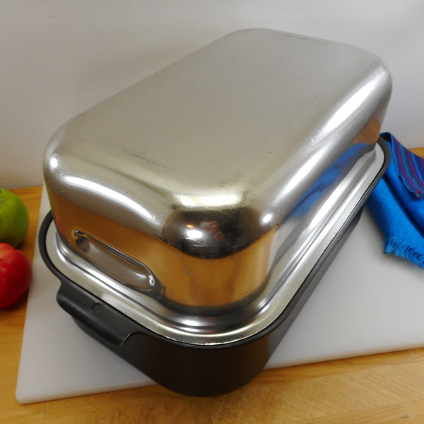 West Bend Mircale Maid Vintage 1970s Large Dome Lid Roaster Pan - Gem Coat Anodized Aluminum