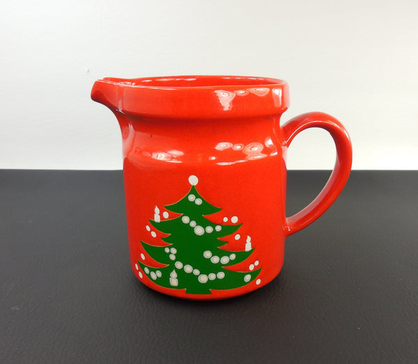 "SOLD... Waechtersbach Germany - Red 28 Oz Christmas Tree Pitcher 5.5"" - Holiday Season Cheer"