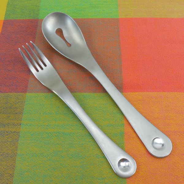 Robert Welch Pendulum Pattern Stainless Flatware - Slotted Serving Spoon and Dinner Fork