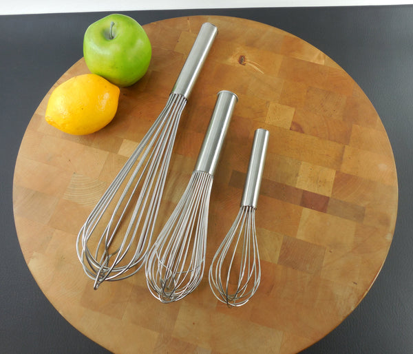 "SOLD... Trio Vintage Commercial 18-8 Stainless Whisks Kitchen Utensil Tool - 8"" 10"" 14"" Bloomfield Heller Japan"