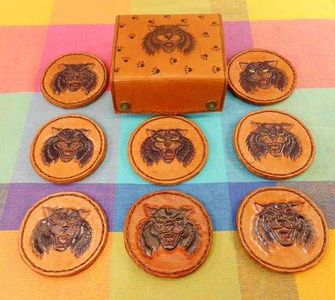 Lynx Wild Cat Vintage Hand Tooled Leather Drink Coaster Set & Case