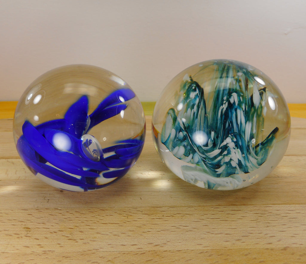 S. Wilkerson Pair 1981 Signed Art Glass Paperweights Blue Teal