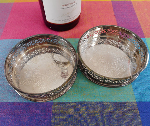 Balwin Silverplate Pair Wine Champagne Bottle Coasters