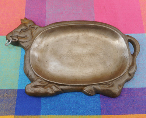 WKM Taiwan Cast Iron Cow Steer Bull Sizzling Steak Platter