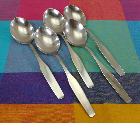 "WMF Cromargan Germany FORM - 5 Place Soup Spoons 7-1/8"" Stainless Steel"