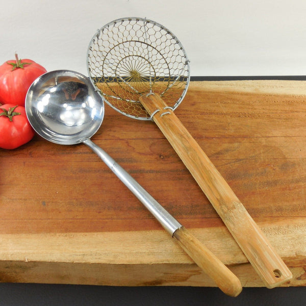Vintage Wok Utensils - Steel Ladle & Wire Mesh Bamboo Skimmer - Kung Fu Wok Company Taiwan