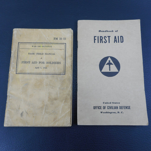 WWII 1943 Basic Field Manual First Aid For Soldiers & Civil Defense Books