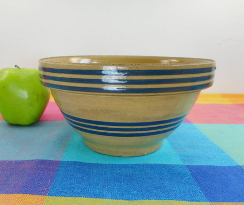 Antique Yellow Ware Stoneware Mixing Bowl - 6 Blue Stripes Bands - 7-3/8""