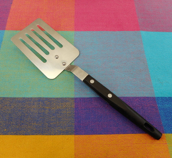 Household Japan Kitchen Utensil - Short Slotted Spatula 10-1/4 Stainless Steel Black Handle