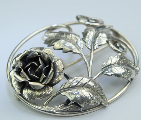 Vintage Sterling Pin Rose Open Work Exquisite