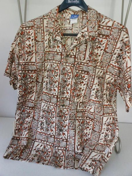 OP Surfer Shirt Vintage 1970s Interesting Floral Vines Block Print Browns Sienna