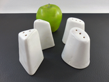 2 Pairs White Pottery Salt Pepper Shakers - Modern Sculptural - Signed L G