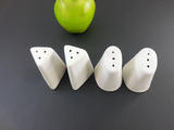 2 Pairs White Pottery Salt Pepper Shakers - Modern Sculptural - Signed L G... top view