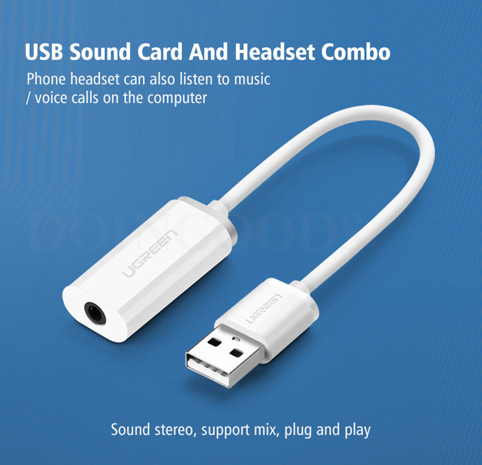Ugreen USB External Audio Sound Card To 3.5mm Jack Adapter Stereo ...