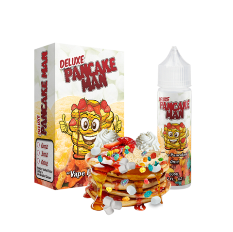 Pancake Man Deluxe e juice by Vape Breakfast Classics is a 60ml of Marshmallows, Vanilla Ice Cream, Topped With Fruity Cereal Flakes  This is a must for any vaper that loves his / her desert vapes....It just doesn't get any better than this.  This is a 60ml bottle with 50ml of 0mg e liquid, To make this a 60ml of 3mg juice a Nic Shot needs to be purchased.