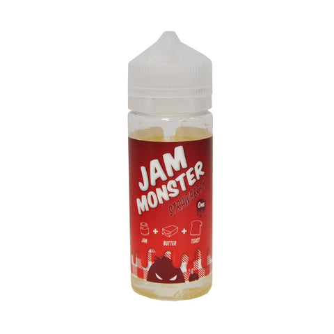 "Jam Monster Loves the good stuff!   ""Early to bed, early to rise, the jam monster could attack at any time. Grab some bread toast it up spread some butter just a touch. smear some jam nice and smooth and hope the jam monster doesn't come for you!""  There is room within this bottle to add 2x10ml nic shots, do so will give you 120ml 3mg nicotine strength."