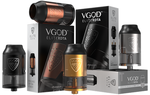 VGOD Elite RDTA With a 4ml e-juice capacity and measure 24mm in diameter. The dual posts build deck for easy single coil building with various wires. It also features an easy top mount oneway fill port, direct bottom airflow for large cloud and a hybrid friendly protruding gold plated 510 pin matching for most MODs. Everything you love about a dripper but with the capacity of a tank, the ELITE Series Rebuildable Dripping Tank Atomizer offers the best of both worlds.