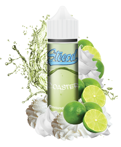 Steepd - Coaster (50ml) Coaster eLiquid by Steepd is a sweet sensation of lemon and limes all combined into a frozen ice cream with a cloud chasing blend of 80/20 VG and bottled in a 50ml short fill Gorilla bottle.