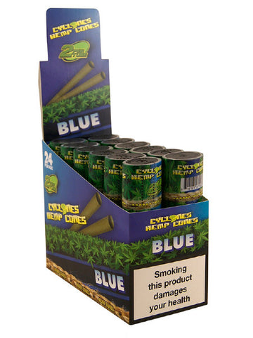 Cyclone Pre-Rolled Tobacco Free Hemp Cone Double Pack - Blue  The Blue blunt is made from pure hemp and then flavoured with lovely sweet tasting berries.  Within each tube there is two cyclone hemp blunts, already pre-rolled and ready to go. As with all of the pure hemp blunt ranges, there is no nicotine or tobacco.