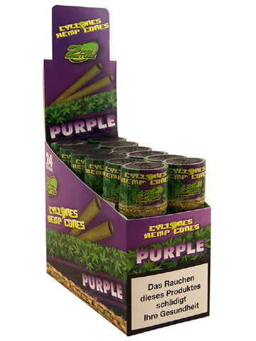 Cyclone Pre-Rolled Tobacco Free Hemp Cone Double Pack - Purple  The Purple blunt is made from pure hemp and then flavoured with lovely sweet tasting grapes.  Within each tube there is two cyclone hemp blunts, already pre-rolled and ready to go. As with all of the pure hemp blunt ranges, there is no nicotine or tobacco.
