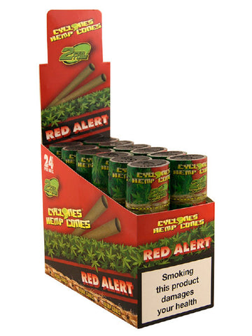 Cyclone Pre-Rolled Tobacco Free Hemp Cone Double Pack - Red Alert  The Red Alert blunt is made from pure hemp and then flavoured with lovely sweet tasting strawberries.  Within each tube there is two cyclone hemp blunts, already pre-rolled and ready to go. As with all of the pure hemp blunt ranges, there is no nicotine or tobacco.