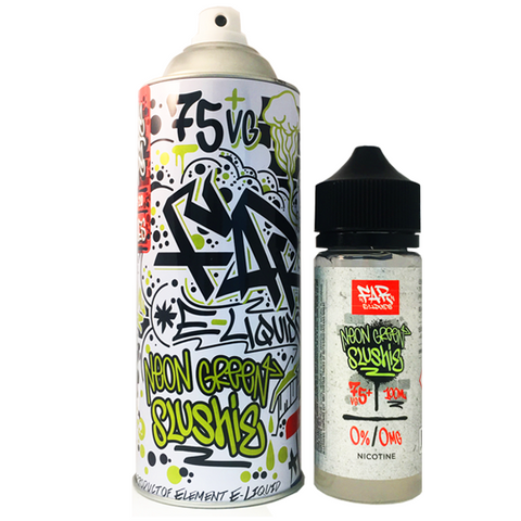 One of a kind mouthwatering and invigorating bright neon lime blend. 75 VG. 100ml unicorn bottle included inside the FAR spray can. Cool down and chill out with our thirst-quenching sumptuous combination of intense neon green lime over endless slush ice. This zesty lime is sweetened to perfection making it the ideal taste bud tamer. FAR e liquid by Element. Made in the US.