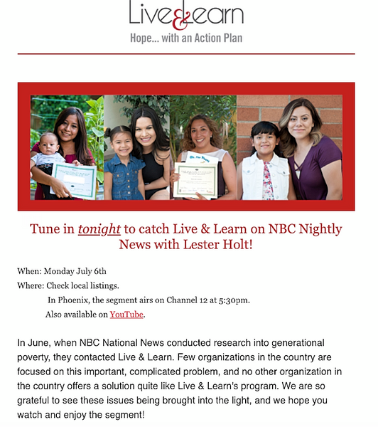 Live and Learn AZ on NBC News with Lester Holt July 2020