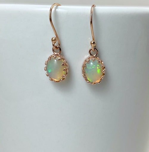Ethiopian fire opal earrings with rose gold
