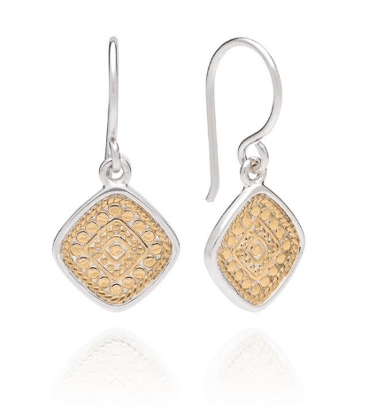 Signature Beaded Cushion Drop Earrings - Gold